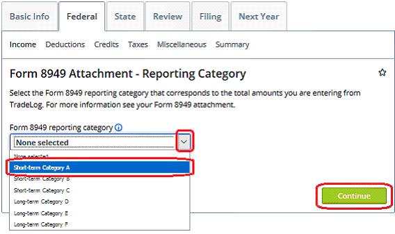 Entering Form 8949 Totals Into Taxact Tradelog Software